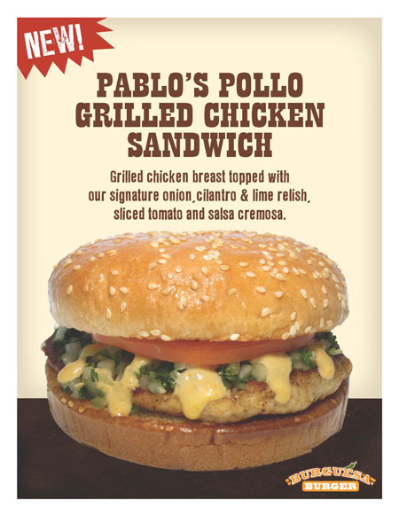 Pablo's Pollo grilled chicken sandwich at Burguesa Burger